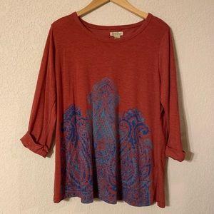 Lucky Brand Mandala 3/4 Sleeve Tee Shirt Size 1X